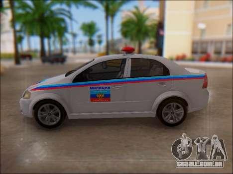 Chevrolet Aveo Polícia LNR para GTA San Andreas vista superior