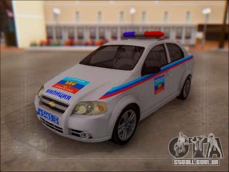 Chevrolet Aveo Polícia LNR para GTA San Andreas traseira esquerda vista