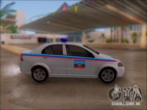 Chevrolet Aveo Polícia LNR para GTA San Andreas esquerda vista