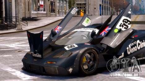 McLaren F1 GTR para GTA 4 vista direita