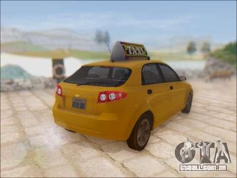 Chevrolet Lacetti Taxi para GTA San Andreas vista traseira