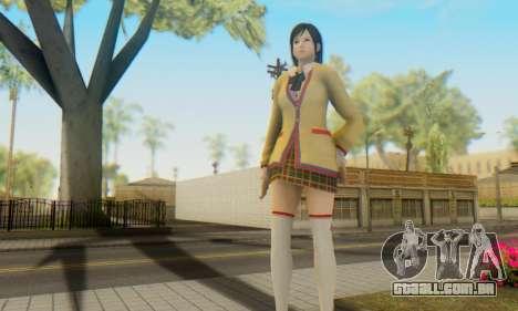 Kokoro wearing a school uniform (DOA5) para GTA San Andreas por diante tela