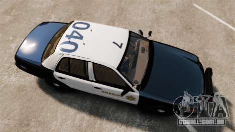 Ford Crown Victoria Sheriff [ELS] Slicktop para GTA 4 vista direita