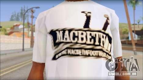 Macbeth T-Shirt para GTA San Andreas terceira tela