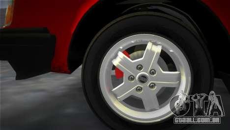 Volvo 242 Turbo Evolution para GTA Vice City vista interior
