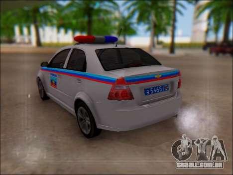 Chevrolet Aveo Polícia LNR para vista lateral GTA San Andreas
