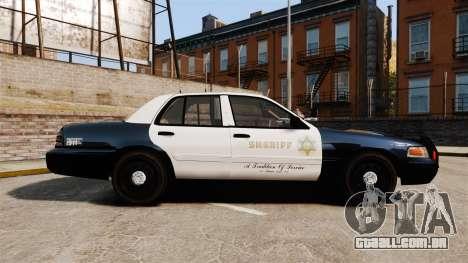 Ford Crown Victoria Sheriff [ELS] Slicktop para GTA 4 esquerda vista