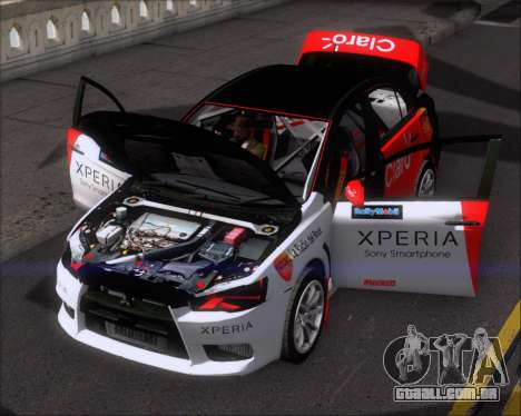 Mitsubushi Lancer Evolution Rally Team Claro para GTA San Andreas vista superior