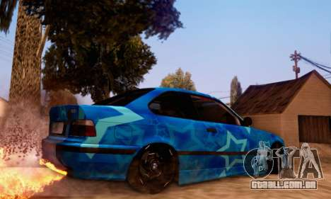 BMW M3 E36 Coupe Blue Star para GTA San Andreas vista traseira