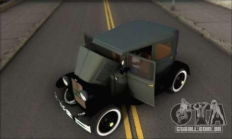 Ford T 1927 para GTA San Andreas vista interior