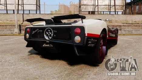 Pagani Zonda C12S Roadster 2001 v1.1 PJ4 para GTA 4 traseira esquerda vista
