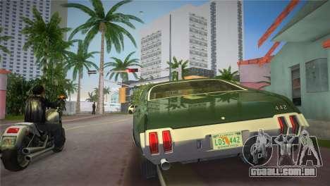 Oldsmobile 442 1970 para GTA Vice City vista traseira esquerda