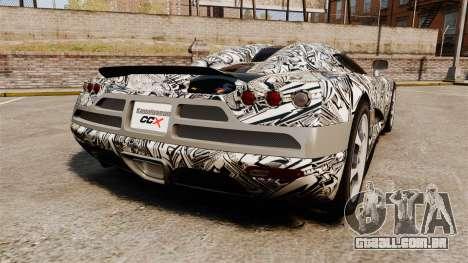 Koenigsegg CCX v1.5 para GTA 4 traseira esquerda vista