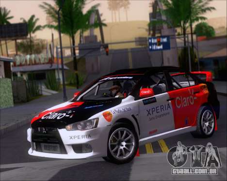 Mitsubushi Lancer Evolution Rally Team Claro para GTA San Andreas esquerda vista