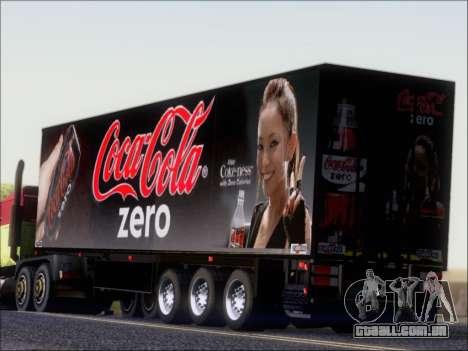 Trailer Chereau Coca-Cola Zero Caminhão para GTA San Andreas traseira esquerda vista