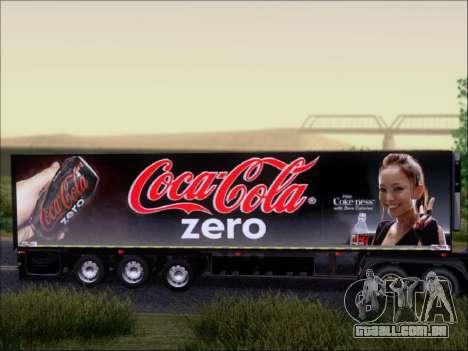 Trailer Chereau Coca-Cola Zero Caminhão para GTA San Andreas vista traseira