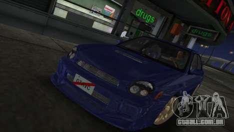 Subaru Impreza WRX 2002 Type 2 para GTA Vice City vista traseira esquerda