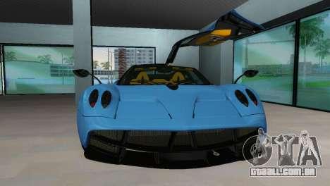 Pagani Huayra 2012 para GTA Vice City vista traseira esquerda