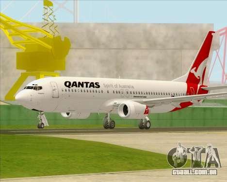 Boeing 737-838 Qantas para GTA San Andreas traseira esquerda vista