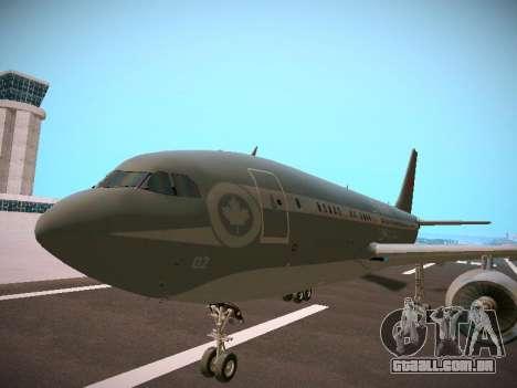 Canadian Forces Airbus CC150 Polaris para GTA San Andreas traseira esquerda vista