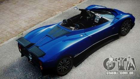 Pagani Zonda S (C12S) Roadster 2011 para GTA 4 traseira esquerda vista