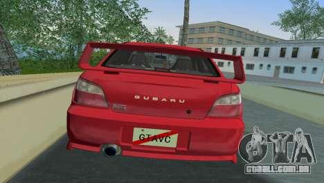 Subaru Impreza WRX 2002 Type 6 para GTA Vice City vista traseira