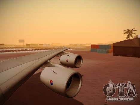 Airbus A380-800 Korean Air para GTA San Andreas vista inferior