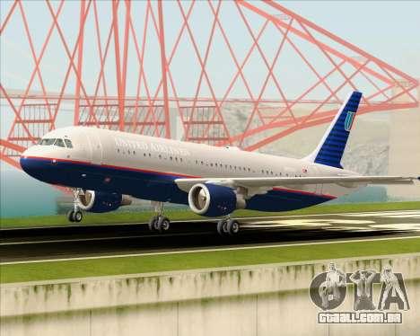 Airbus A320-232 United Airlines (Old Livery) para GTA San Andreas vista superior