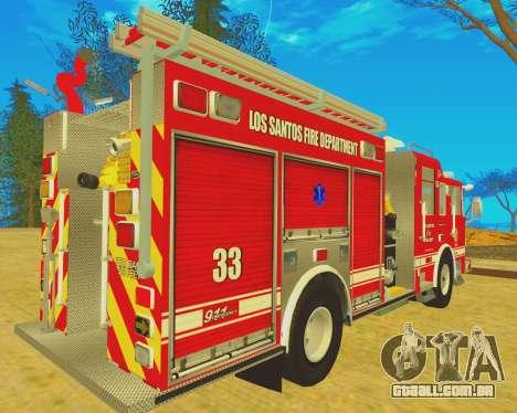 Pierce Arrow XT 2008 Los Santos Fire Department para GTA San Andreas traseira esquerda vista
