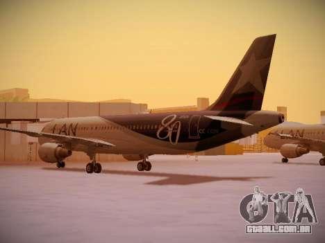 Airbus A320-214 LAN Airlines 80 Years para GTA San Andreas vista direita