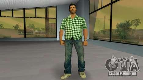 Kockas polo - zold T-Shirt para GTA Vice City segunda tela