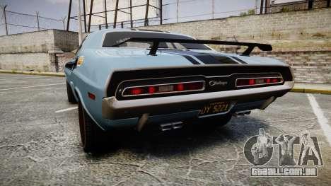 Dodge Challenger 1971 v2.2 PJ2 para GTA 4 traseira esquerda vista