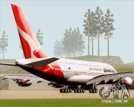 Airbus A380-841 Qantas para GTA San Andreas traseira esquerda vista