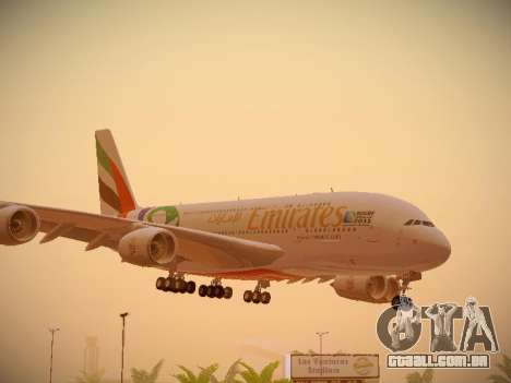 Airbus A380-800 Emirates Rugby World Cup para GTA San Andreas esquerda vista