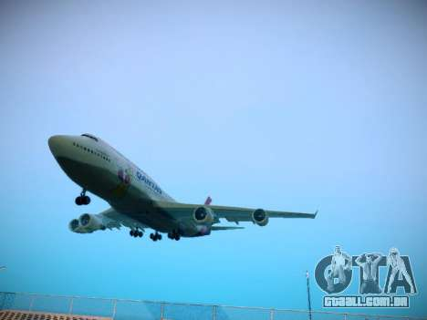 Boeing 747-438 Qantas Boxing Kangaroo para GTA San Andreas esquerda vista