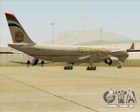 Airbus A330-300 Etihad Airways para GTA San Andreas vista traseira