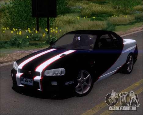 Nissan Skyline GT-R R34 V-Spec II para o motor de GTA San Andreas