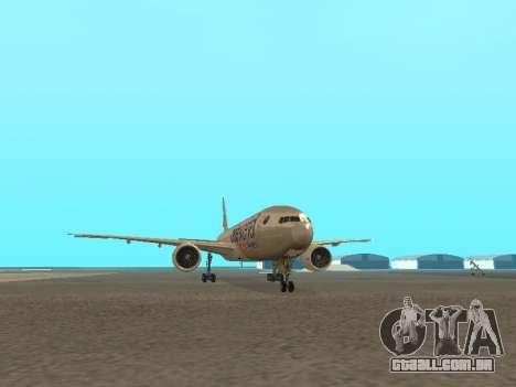 Boeing 777-223ER American Silver Bullet para GTA San Andreas vista traseira