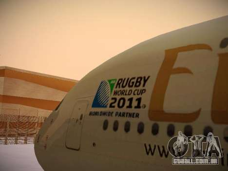 Airbus A380-800 Emirates Rugby World Cup para vista lateral GTA San Andreas