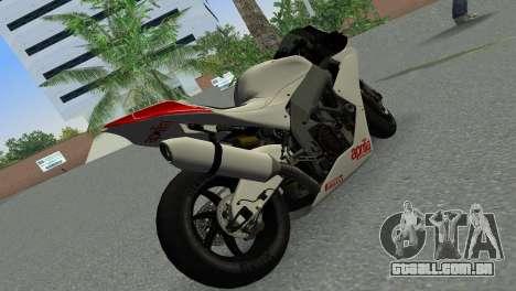 Aprilia RSV4 2009 Gray Edition para GTA Vice City vista traseira esquerda
