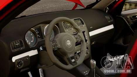 Volkswagen Golf R 2010 Racing Stripes Paintjob para GTA 4 vista interior