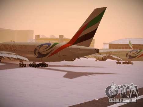 Airbus A380-800 Emirates Rugby World Cup para GTA San Andreas traseira esquerda vista