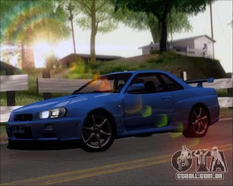 Nissan Skyline GT-R R34 V-Spec II para GTA San Andreas esquerda vista