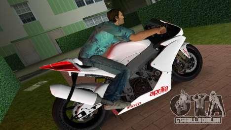 Aprilia RSV4 2009 White Edition I para GTA Vice City deixou vista