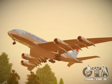 Airbus A380-800 Korean Air para GTA San Andreas vista interior