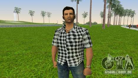 Kockas polo - fekete T-Shirt para GTA Vice City terceira tela