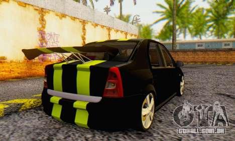 Dacia Logan Black Style para GTA San Andreas traseira esquerda vista