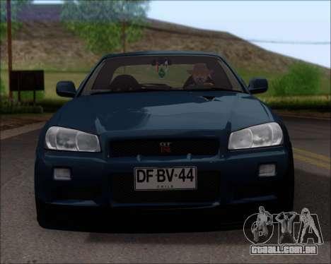 Nissan Skyline GT-R R34 V-Spec II para GTA San Andreas vista inferior