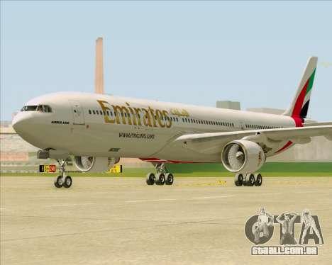Airbus A330-300 Emirates para GTA San Andreas traseira esquerda vista