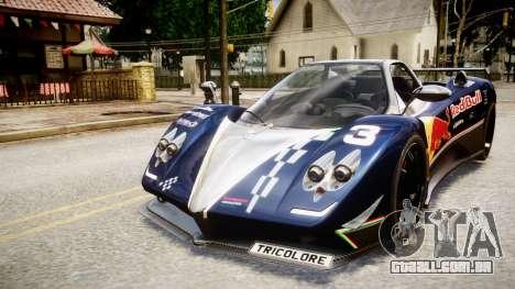 Pagani Zonda Tricolore para GTA 4 traseira esquerda vista